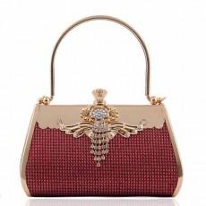 กระเป๋าคลัชถือออกงาน แฟชั่นเกาหลีแต่งคริสตัลหรูหราเข้าชุดราตรีสวย นำเข้า สีแดงเข้ม - พร้อมส่งAP2576 ราคา1900บาท