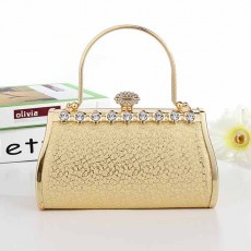 กระเป๋าคลัชออกงาน กระเป๋าถือคริสตัลผู้หญิงแฟชั่นเกาหลีเข้าชุดราตรีงานแต่ง นำเข้า สีทอง - พร้อมส่งAP2578 ราคา1900บาท