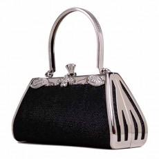 กระเป๋าคลัชออกงาน แฟชั่นเกาหลีหรูหราขอบเงินเรียบเข้าชุดราตรีสีสวย นำเข้า สีดำ - พร้อมส่งAP2579 ราคา1900บาท