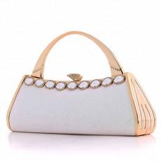 กระเป๋าถือออกงาน ทรงแข็งแฟชั่นเกาหลีแต่งเพชรคริสตัลหรูหราใหม่ขอบทอง นำเข้า สีขาว - พร้อมส่งAP2580 ราคา1900บาท