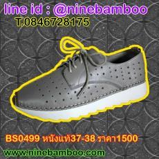 รองเท้าผ้าใบส้นหนาคัทชูอินเทรนด์แฟชั่นเกาหลีหนังแท้ผูกเชือกรุ่นใหม่ ไซส์37-38 พร้อมส่งBS0499 ราคา1500บาท