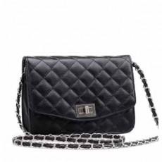 กระเป๋าสะพายออกงาน แฟชั่นเกาหลีใบเล็กสายโซ่หนังสวยดูดีมาก นำเข้า สีดำ - พร้อมส่งBBB026 ราคา670บาท [หมดค่ะ]