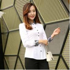 เสื้อเชิ้ตทำงานผู้หญิงแฟชั่นเกาหลีคอปกและปลายแขนลูกไม้ นำเข้า ไซส์Sถึง5XL สีขาว พรีออเดอร์BL0044 ราคา950บาท