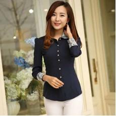 เสื้อเชิ้ตทำงานผู้หญิงแฟชั่นเกาหลีคอปกและปลายแขนลูกไม้ นำเข้า ไซส์Sถึง5XL สีน้ำเงิน พรีออเดอร์BL0044 ราคา950บาท