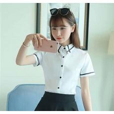 เสื้อชีฟองแขนสั้นทำงานคอปกดีไซน์ใหม่สวยใส่สบายไซส์XL สีขาว นำเข้า พร้อมส่งBL0045 ราคา650บาท