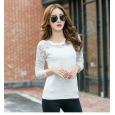 เสื้อลูกไม้แขนยาวคอกลมแฟชั่นเกาหลีออกงานใหม่ อก34-36นิ้ว สีขาว นำเข้า พร้อมส่งBL0095 ราคา850บาท