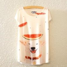 เสื้อยืดแขนสั้นแบบปีกค้างคาวฟรีไซส์พิมพ์ลายหมาน้อยน่ารักพร้อมส่ง นำเข้า BL0110 ราคา220บาท