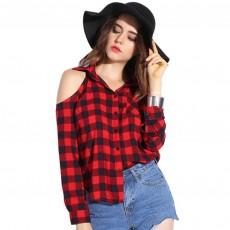 เสื้อเชิ้ตลายสก็อตตารางแขนยาวผู้หญิงเปิดไหล่ตัวหลวมแฟชั่นเกาหลี ฟรีไซส์ สีแดงดำ นำเข้า - พร้อมส่งBL0150 ราคา1100บาท