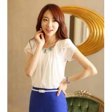 เสื้อชีฟองแขนสั้น แฟชั่นเกาหลี พริ้วสวย นำเข้า ไซส์MถึงXL สีขาว - พรีออเดอร์BM2482 ราคา990บาท [หมดค่ะ]