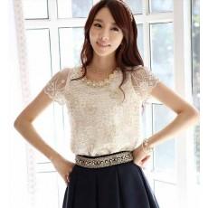 เสื้อลูกไม้แฟชั่นเกาหลี ผ้าชีฟองหรูหรา นำเข้า ไซส์Sถึง3XL สีเบจ - พรีออเดอร์BM2485 ราคา1450บาท