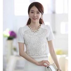 เสื้อเชื้ตลูกไม้ แฟชั่นทำงานสไตล์เกาหลี นำเข้า ไซส์SถึงXL สีขาว - พรีออเดอร์BM2488 ราคา1100บาท [หมดค่ะ]