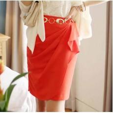 กระโปรงแฟชั่น แต่งผ้าชีฟองสวยหรูมาก นำเข้า ไซส์SถึงXL สีส้ม - พรีออเดอร์BM2494 ราคา995บาท [หมดค่ะ]