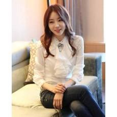 เสื้อเชิ้ต แฟชั่นเกาหลีระบายลูกไม้สวยหรู นำเข้า ไซส์Sถึง2XLสีขาว - พรีออเดอร์BM2513 ราคา1270บาท