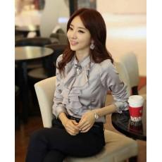 เสื้อเชิ้ต แฟชั่นเกาหลีระบายลูกไม้สวยหรู นำเข้า ไซส์Sถึง2XL สีเทา - พรีออเดอร์BM2513 ราคา1270บาท