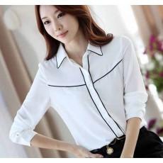 เสื้อเชิ้ต แฟชั่นเกาหลีชีฟองแขนยาวสวยใหม่ นำเข้า ไซส์Sถึง2XL สีขาว - พรีออเดอร์BM2538 ราคา1050บาท [หมดค่ะ]