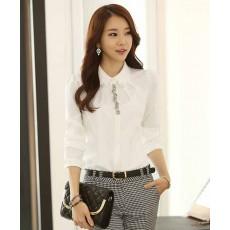 เสื้อเชิ้ต แฟชั่นเกาหลีผู้นำคณะผู้บริหารสวย นำเข้า ไซส์SถึงXL สีขาว - พรีออเดอร์BM2551 ราคา1350บาท