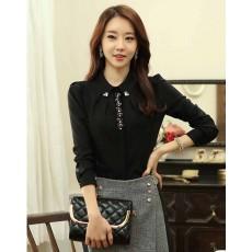 เสื้อเชิ้ต แฟชั่นเกาหลีผู้นำคณะผู้บริหารสวย นำเข้า ไซส์SถึงXL สีดำ - พรีออเดอร์BM2551 ราคา1350บาท