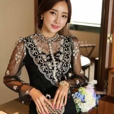 เสื้อลูกไม้สีดำ แฟชั่นเกาหลีคอตั้งลูกไม้ผ้าแก้วสีทองสวยหรูหรา นำเข้า ไซส์Sถึง2XL - พรีออเดอร์BM2576 ราคา1790บาท
