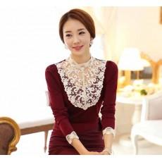 เสื้อลูกไม้แขนยาว แฟชั่นเกาหลีคอตั้งใส่ไปงานแต่งงานราตรีหรูเทรนด์ใหม่ นำเข้า ไซส์L สีแดง - พร้อมส่งBM2609 ราคา490บาท