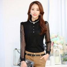 เสื้อลูกไม้แขนยาว แฟชั่นเกาหลีคอตั้งลูกไม้คอเสื้อแต่งคริสตัล นำเข้า ไซส์Mและ2XL สีดำ - พร้อมส่งBM2655 ราคา1100บาท