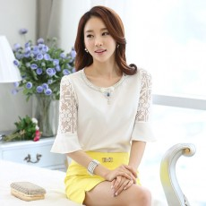 เสื้อชีฟองออกงาน แฟชั่นเกาหลีแต่งคริสตัลแขนกระดิ่งผ้าลูกไม้ นำเข้า ไซส์XL สีขาว - พร้อมส่งBM2662 ราคา1450บาท