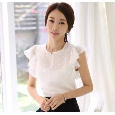 เสื้อเชิ้ต แฟชั่นเกาหลีชีฟองระบายสไตล์ลูกไม้สวย นำเข้า ไซส์Mและ2XL สีขาว - พร้อมส่งBM2663 ราคา1050บาท