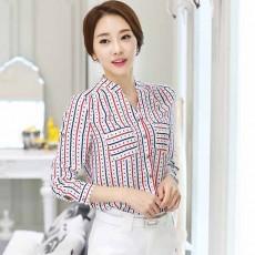 เสื้อเชิ้ตผู้หญิง แขนยาวผ้าชีฟองลายหัวใจแฟชั่นเกาหลีทำงานใหม่ นำเข้า ไซส์L - พร้อมส่งBM2675 ราคา1290บาท