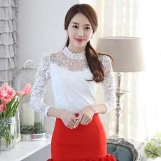 เสื้อลูกไม้แขนยาว แฟชั่นเกาหลีคอตั้งลายดอกไม้ใหม่สวยเนื้อนุ่ม นำเข้า ไซส์XL สีขาว - พร้อมส่งBM2682 ราคา1150บาท