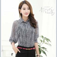 เสื้อลูกไม้แขนยาว2ชิ้นแฟชั่นเกาหลีคอปกแบบเชิ้ตทำงานสวย นำเข้า ไซส์L สีเทา - BM2703 ลดราคา 1400 บาท