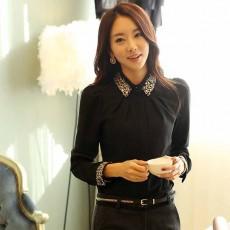 เสื้อเชิ้ตชีฟองแขนยาว แฟชั่นเกาหลีแต่งคริสตัลสวยใหม่ นำเข้า ไซส์XL สีดำ - พร้อมส่งBM2708 ราคา1350บาท