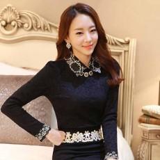 เสื้อลูกไม้แขนยาวสีดำ แฟชั่นเกาหลีคอปกปักลูกไม้หรูหราแบบใหม่ นำเข้า ไซส์XL - พร้อมส่งBM2709 ราคา1450บาท