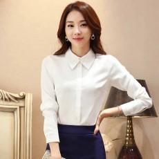 เสื้อเชิ้ตชีฟองแขนยาว แฟชั่นเกาหลีแบบสุภาพเรียบร้อยคอปกสวยใหม่ นำเข้า ไซส์XL สีขาว - พร้อมส่งBM2725 ราคา1250บาท