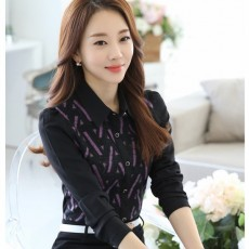 เสื้อเชิ้ตชีฟองลูกไม้แขนยาว แฟชั่นเกาหลีคอปกขลิบม่วงทำงานหรูมาก นำเข้า ไซส์L/2XL สีดำ - พร้อมส่งBM2727 ราคา1350บาท