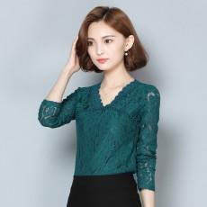 เสื้อลูกไม้คอวีแขนยาว แฟชั่นเกาหลีทำงานและออกงานพิธีหรูมาก นำเข้า ไซส์2XL สีเขียว - พร้อมส่งBM2734 ราคา1250บาท