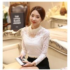 เสื้อลูกไม้แขนยาวแฟชั่นเกาหลีคอตั้งประดับมุกเรียงใหม่สวยเนื้อนุ่ม นำเข้า ไซส์L-2XL สีขาว พร้อมส่งBM2742 ราคา1550บาท