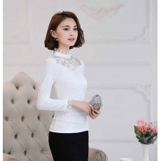 เสื้อลูกไม้แขนยาวแฟชั่นเกาหลีคอตั้งผ้าแก้วลายดอกไม้แต่งมุกใหม่ ไซส์XL-2XL สีขาว นำเข้า พร้อมส่งBM2753 ราคา1550บาท