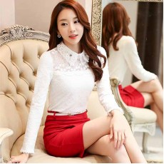 เสื้อลูกไม้แขนยาวแฟชั่นเกาหลีคอปกผ้าแก้วลายดอกไม้แต่งคริสตัล ไซส์XL-2XL สีขาว นำเข้า พร้อมส่งBM2756 ราคา1700บาท