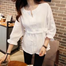 เสื้อเชิ้ตแขนยาวผู้หญิงผ้าคอตตอนลินินผูกโบว์ใต้อกตัวหลวมแฟชั่นเกาหลี ไซส์XL สีขาว นำเข้า - พร้อมส่งBM2759 ราคา1300บาท