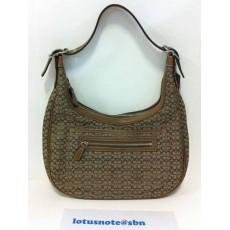 COACH Signature Khaki Tan Hobo Handbag Purse Leather Trim ของแท้มือสองจากอเมริกา พร้อมส่ง ราคา2490บาท