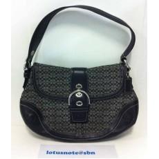 COACH Signature Jacquard Soho Hobo Flap Handbag Purse Black Leather ของแท้มือสองจากอเมริกา พร้อมส่ง ราคา2790บาท