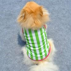 เสื้อผ้าสุนัขไซส์เล็ก น้องหมาน้องแมวขนาด 10 นิ้วเบอร์ XS เสื้อยืดคอกลมลายขวางสีเขียว นำเข้า - พร้อมส่งDG1 ราคา89บาท