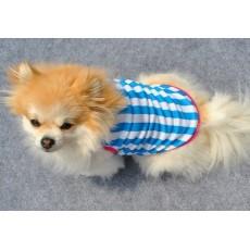 เสื้อผ้าสุนัขไซส์เล็ก น้องหมาน้องแมวขนาด 10 นิ้วเบอร์ XS เสื้อยืดคอกลมลายขวางสีฟ้า นำเข้า - พร้อมส่งDG2 ราคา89บาท