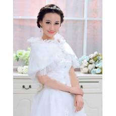 ผ้าคลุมไหล่เสื้อคลุมไหล่ขนเฟอร์แต่งลูกไม้สวมคู่ชุดราตรีแฟชั่นเกาหลีหรูหรา นำเข้า สีขาว - พร้อมส่งYA059