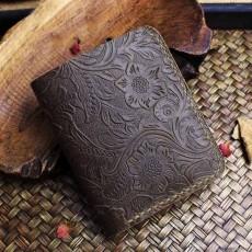 กระเป๋าสตางค์หนังแท้ สไตล์เรโทรแนววินเทจสวยมากหนังแท้แฮนด์เมด นำเข้า สีน้ำตาล - พรีออเดอร์F049 ราคา2500บาท