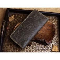 กระเป๋าสตางค์ใบยาวแฮนด์เมด สวย แนว ไม่เหมือนใคร หนังแท้ 100 เปอร์เซ็น สีน้ำตาลเข้ม - พรีออเดอร์F040 ราคา2500บาท