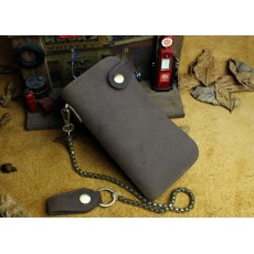 กระเป๋าสตางค์ผู้ชายใบยาวแฮนด์เมด สไตล์เรโทร แนว พร้อมสายโซ่คล้องเข็มขัด หนังแท้ 100 เปอร์เซ็น - พรีออเดอร์F045 ราคา3000บาท