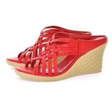 รองเท้าส้นตึก สายไขว้สวยแฟชั่นเกาหลีเบาสบายเท้า นำเข้าไซส์34ถึง39 สีแดง - พรีออเดอร์HS106-4 ราคา1350บาท
