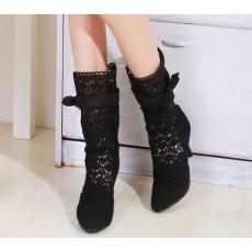 รองเท้าบู๊ทลูกไม้ แฟชั่นเกาหลี สไตล์ผ้าถักสวยใส่สบาย นำเข้า สีดำ - พรีออเดอร์HS116-4 ราคา1550บาท