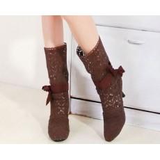 รองเท้าบู๊ทลูกไม้ แฟชั่นเกาหลี สไตล์ผ้าถักสวยใส่สบาย นำเข้า สีน้ำตาล - พรีออเดอร์HS116-4 ราคา1550บาท