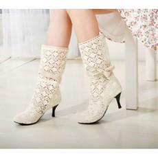 รองเท้าบู๊ทลูกไม้ แฟชั่นเกาหลี สไตล์ผ้าถักสวยใส่สบาย นำเข้า สีครีม - พรีออเดอร์HS116-4 ราคา1550บาท